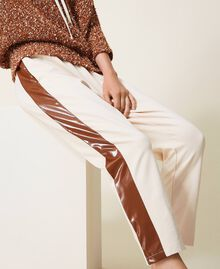 """Trousers with patent leather inlays Two-tone Cloud Pink / """"Terracotta"""" Brown Woman 202LI2JCC-05"""