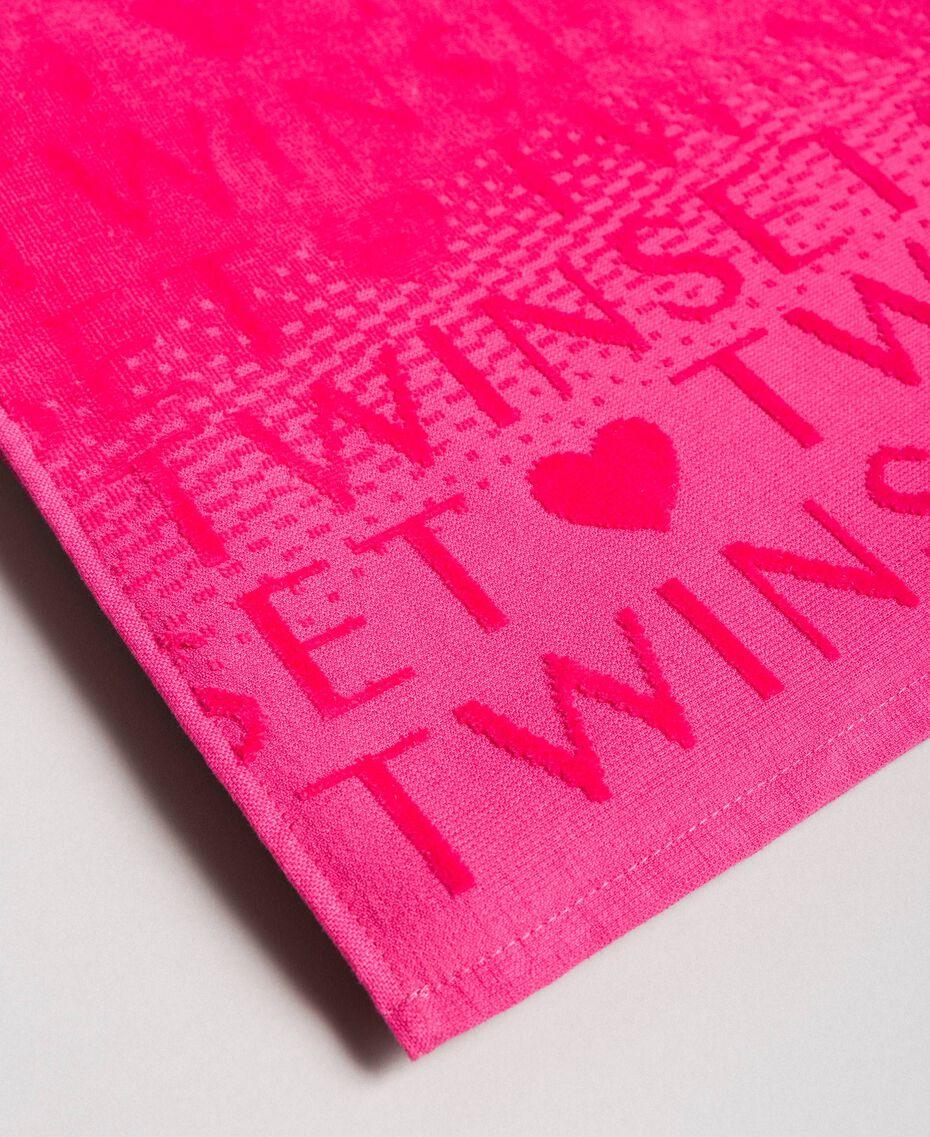 """Frottee-Strandhandtuch mit großem Logo """"Psychedelic Pink"""" Fuchsie Frau 191LB4ZDD-02"""