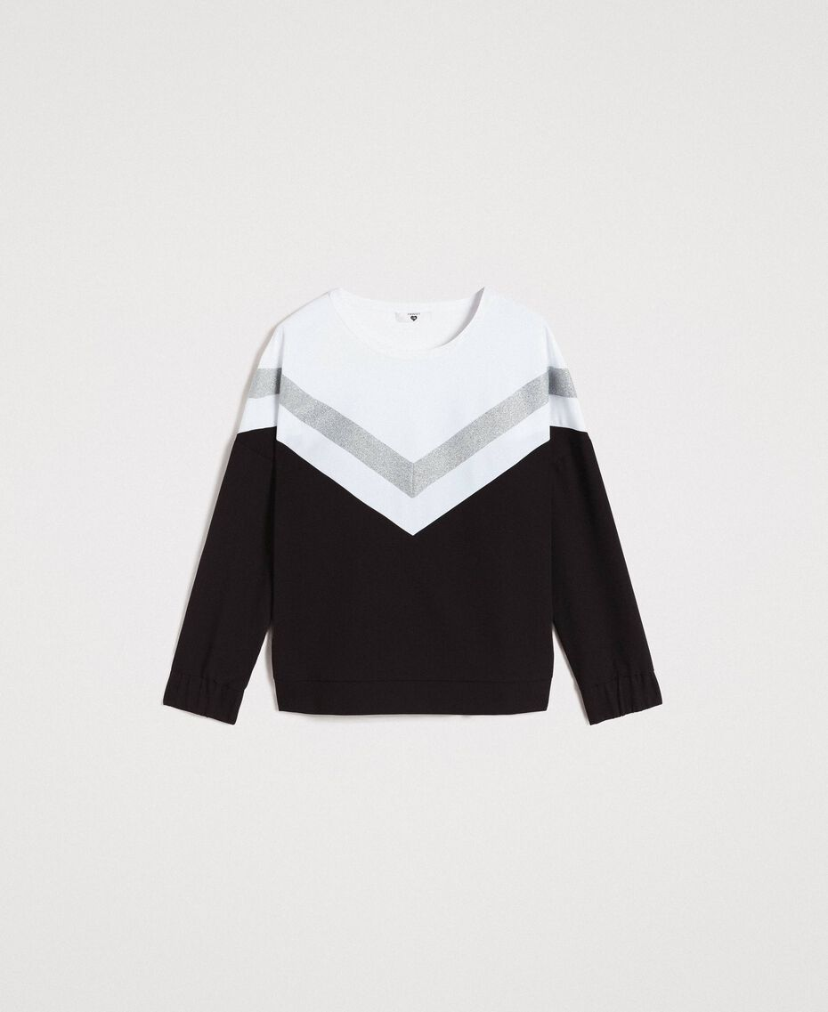 Gabardine sweatshirt with lurex insert Two-tone Black / Optical White Woman 191LL25EE-0S