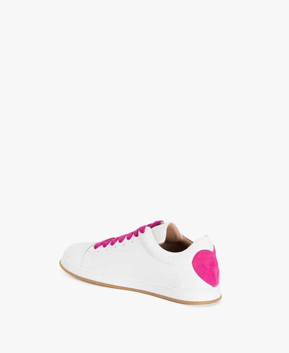 TWINSET Baskets cœur Bicolore Blanc Optique / Rose «Hortensia» Femme CS8PJJ-03