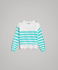 "Striped jumper with lace flounce ""Island Paradise"" Light Blue / Off White Striping Child 191GB3080-0S"