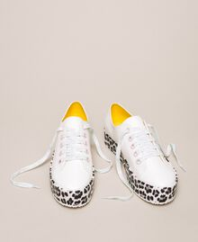 Animal print platform trainers Two-tone Vanilla / Animal Print Woman 201MCP140-01