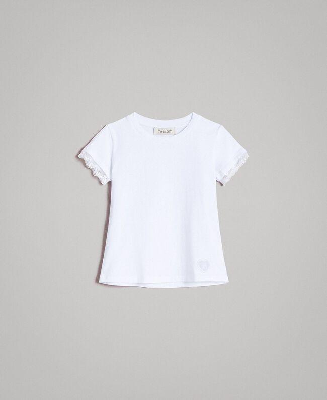 b139276b94f85 T-shirt en jersey orné de dentelle Blanc Enfant 191GB2180-01