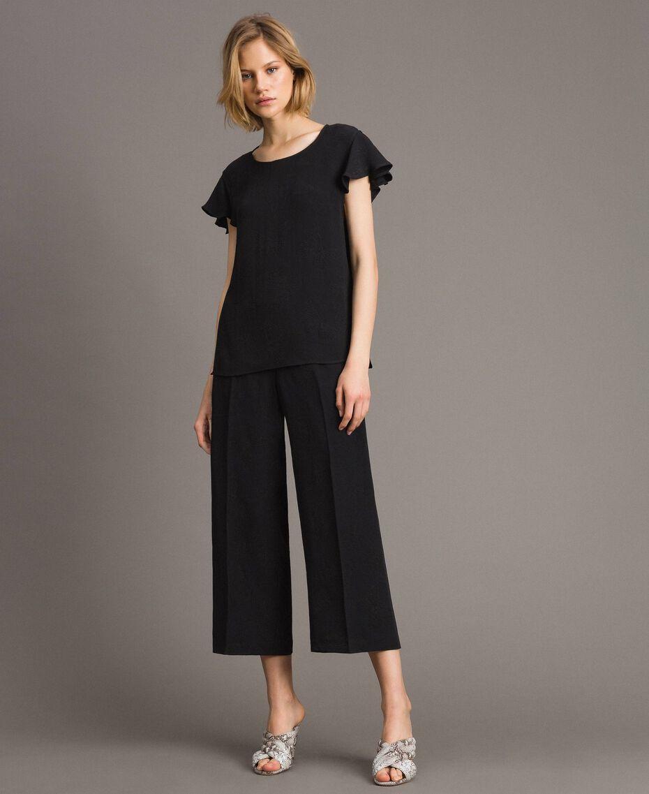 Pantalon avec papillons jacquard Noir Femme 191TT2140-01