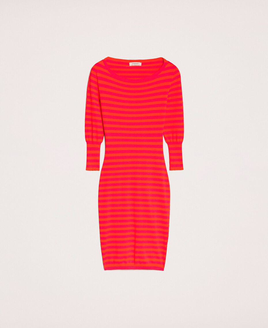 Robe fourreau dos nu à rayures Rayé Rouge «Griotte» / Rouge «Jaspe» Femme 201TP306A-0S
