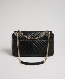 Grand sac à bandoulière en cuir matelassé Noir Femme 192TA7101-04