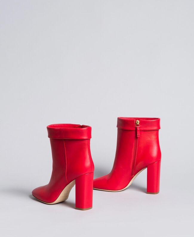 Bottines en cuir avec revers Rouge Coquelicot Femme CA8PLG-03