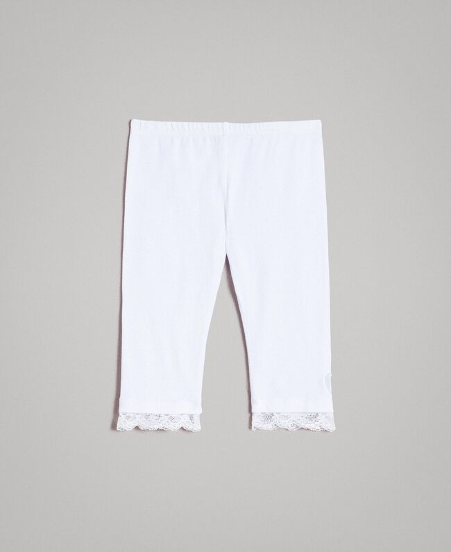 Jersey leggings with lace White Child 191GB2182-01