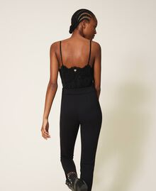 Crêpe de Chine and lace jumpsuit Black Woman 202TT2282-04