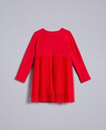 Kleid aus Plumetis-Tüll Rot Mohn Kind FA82QN-0S