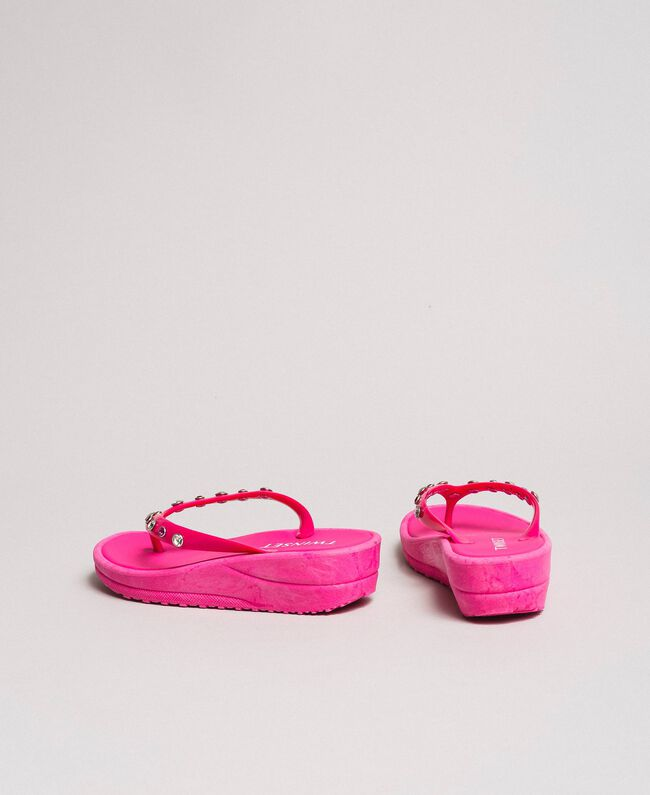 """Flip flops with wedge and rhinestones """"Psychedelic Pink"""" Fuchsia Woman 191LB4ZNN-04"""