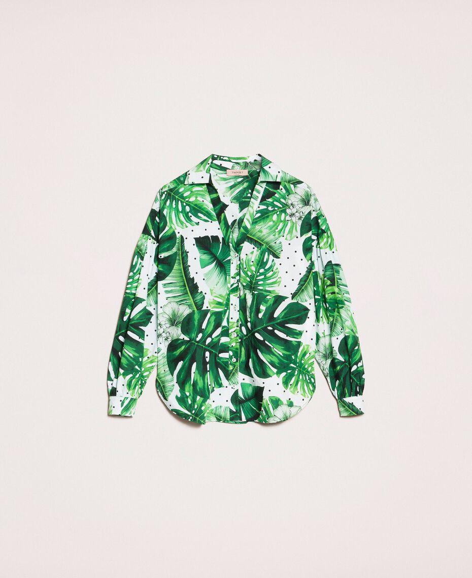 Camicia in popeline stampato Stampa Tropical Pois Verde Donna 201TP2550-0S
