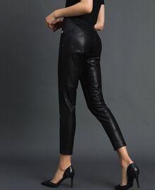 Faux leather leggings Black Woman 192MP2025-04