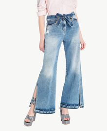 Wide leg jeans Denim Blue Woman JS82WZ-01