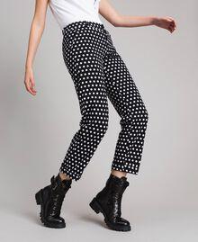 Pantalons cigarette à pois Bicolore Noir / Blanc Femme 191MP2362-04