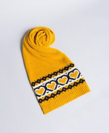 Jacquard scarf with hearts Golden Yellow Woman RA8T2B-01