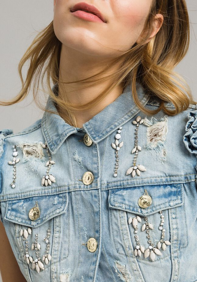 Destroyed denim waistcoat with bezels and stones