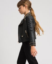 Faux leather biker jacket with studs Black Child 192GJ2020-02