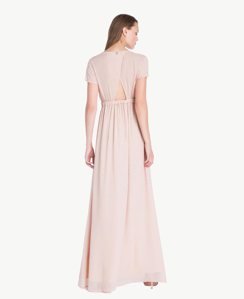 Langes Kleid mit Strassbesatz Nudebeige QA7PAB-02