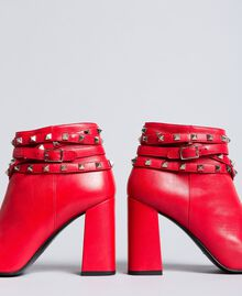 Faux leather ankle boots with studs Poppy Red Woman DA8PEJ-01