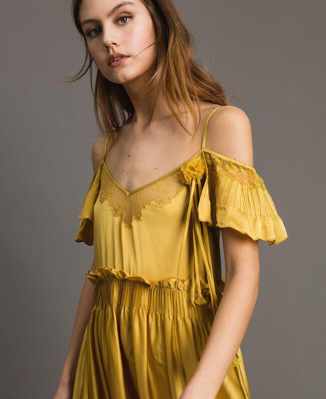 """Robe longue en satin de soie avec bordures en dentelle Or """"Miel Doré"""" Femme 191TT2011-04"""
