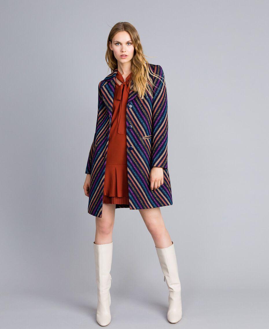 Kurzes Kleid aus Seidenmischung mit Plissee Rotbraun Frau TA823S-0T