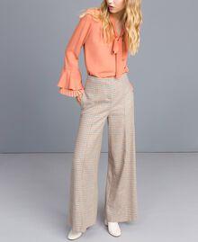 Check flannel palazzo trousers Multicolour Check Woman TA8214-01