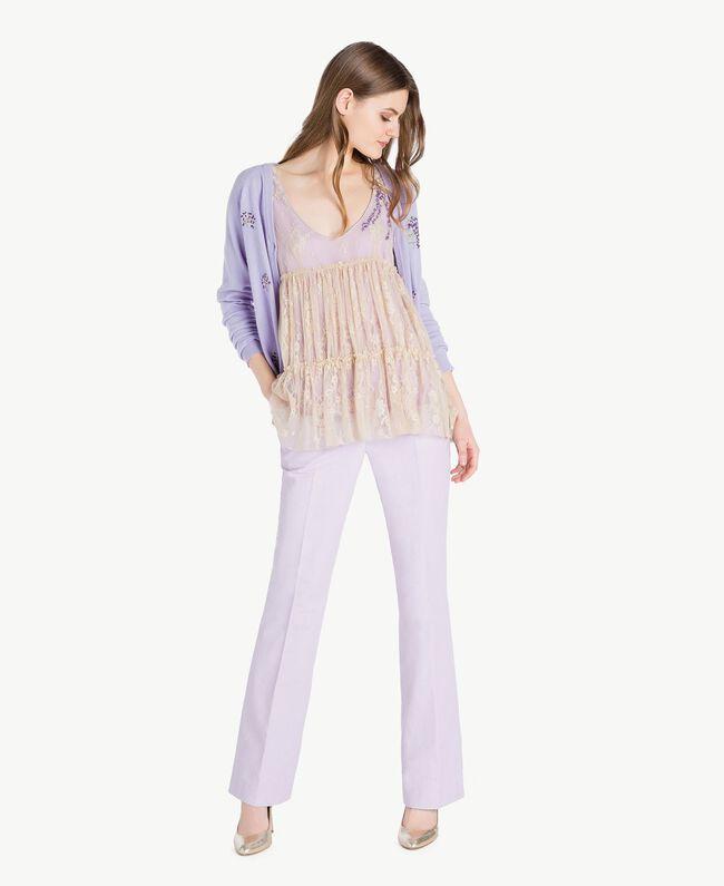 Lace top Two-tone Ecru / Violet Woman PS821E-05