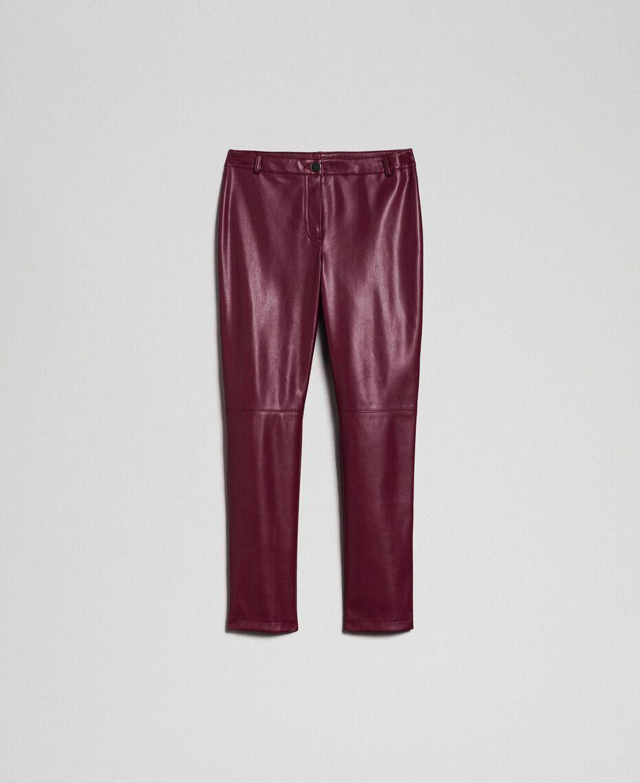 Pantalon cigarette en similicuir Rouge Violet Femme 192LI2EBB-0S