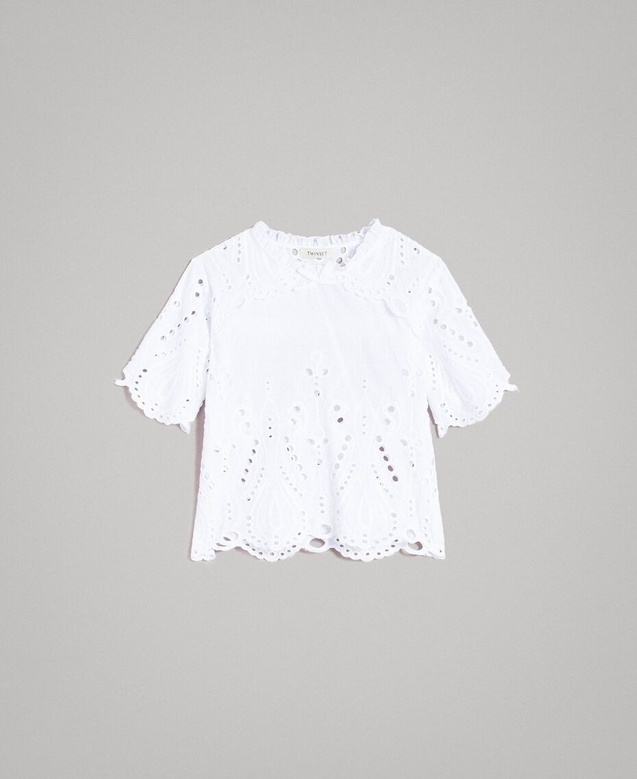 Muslin blouse with broderie anglaise embroidery White Child 191GJ2622-01