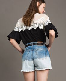 Dip-dye denim shorts with floral patch Bleached Shades Woman 191TT2052-03