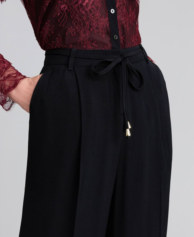 Wide cady trousers Black Woman PA825D-04