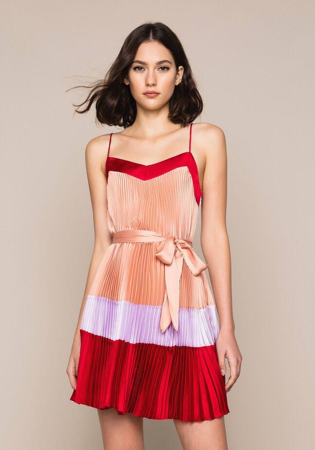 Pleated satin slip dress