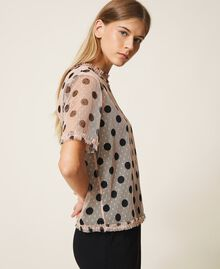 Plumetis tulle blouse with polka dots Nude Beige Polka Dot Print Woman 202ST2062-02