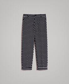 Zigarettenhose mit Tupfen Zweifarbig Schwarz / Weiß Frau 191MP2362-0S