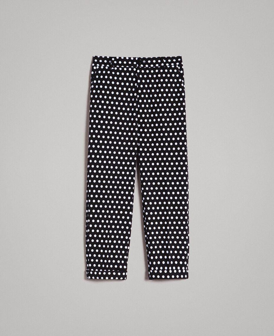 Pantalons cigarette à pois Bicolore Noir / Blanc Femme 191MP2362-0S