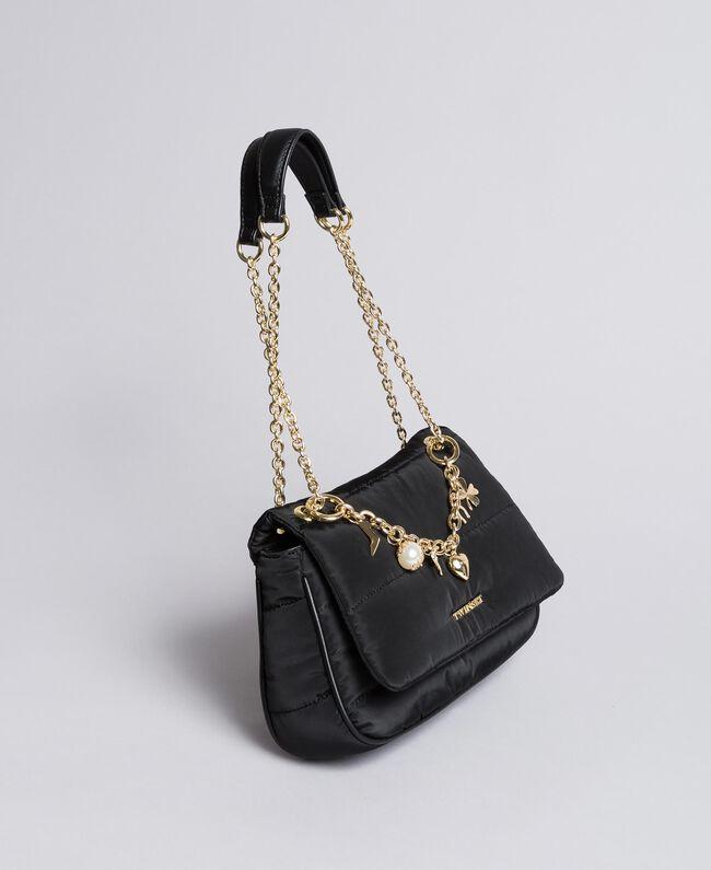 Tracolla in nylon con catena e charms Nero Donna AA8PFC-01