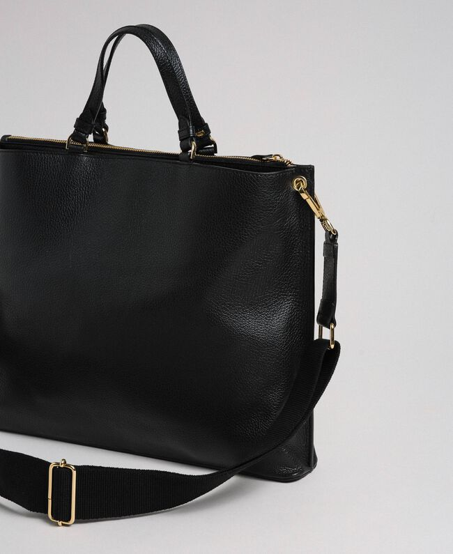 Grand cabas en cuir à bandoulière Noir Femme 192TO8090-03