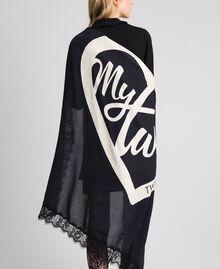 Heart print and lace kefiah Black / Vanilla MyTwin Print Woman 192MA432E-06