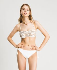 Bandeau bikini top with embroideries and rhinestones Ivory Woman 191LMMR11-02