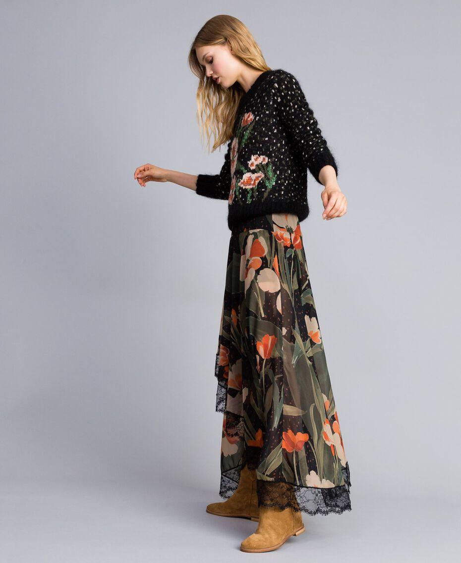 Chiffon long skirt with floral print Maxi Black Tulip Print Woman TA825V-02