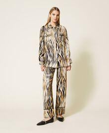 "Satinhemd mit Animalprint Print ""Tiger"" Frau 212LL2ELL-02"