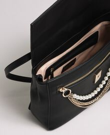 Borsa a tracolla in similpelle con perle e catene Nero Donna 192MA7050-04