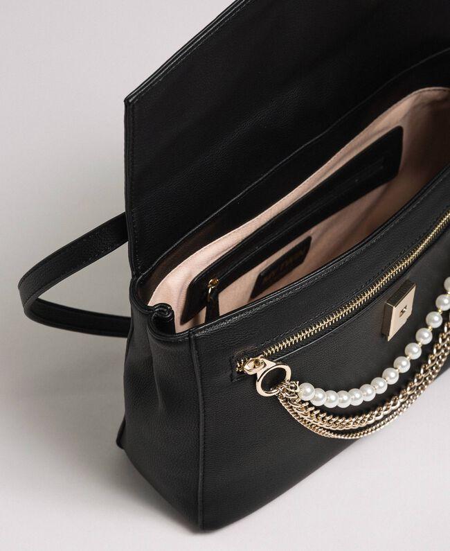 Umhängetasche aus Lederimitat mit Perlen und Kettchen Schwarz Frau 192MA7050-04