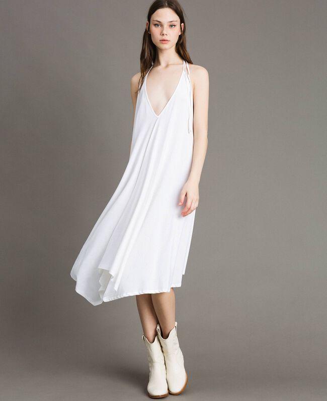 Robe asymétrique en jersey crêpé Blanc Femme 191LB22QQ-01