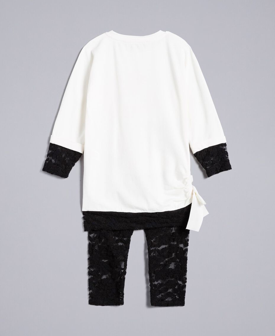 Printed t-shirt and lace leggings Bicolour Off White / Black Child FA821V-0S