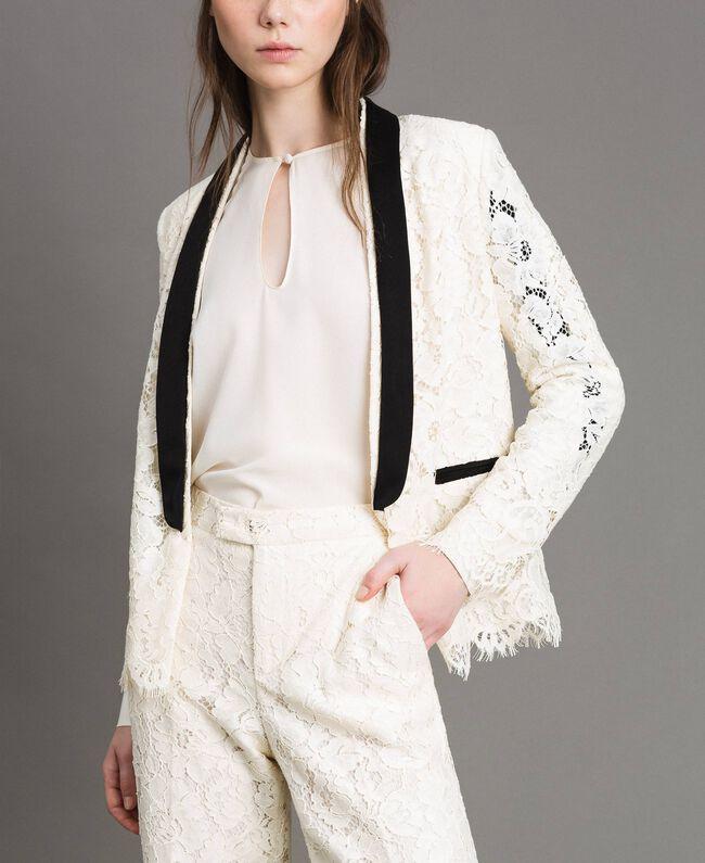 Pantaloni cropped in pizzo macramè Bianco Neve Donna 191TP2255-04