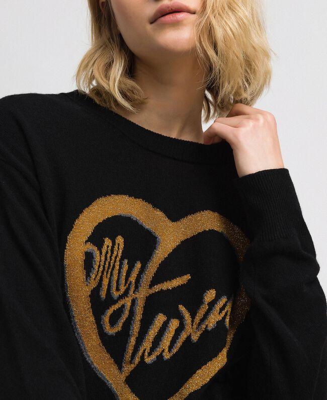 Pullover mit Jacquardintarsie und Logo aus Lurex Schwarz / Safrangelb Frau 192MP3081-04
