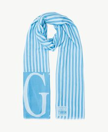 "Striped scarf Baby Blue ""Glam"" Print Woman RS8T2A-01"