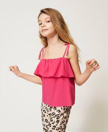 "Poplin flounce top ""Fuchsia Purple"" Pink Child 211GJ2237-01"
